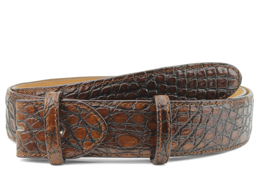 Hand painted London Tan Genuine Crocodile Belt Strap