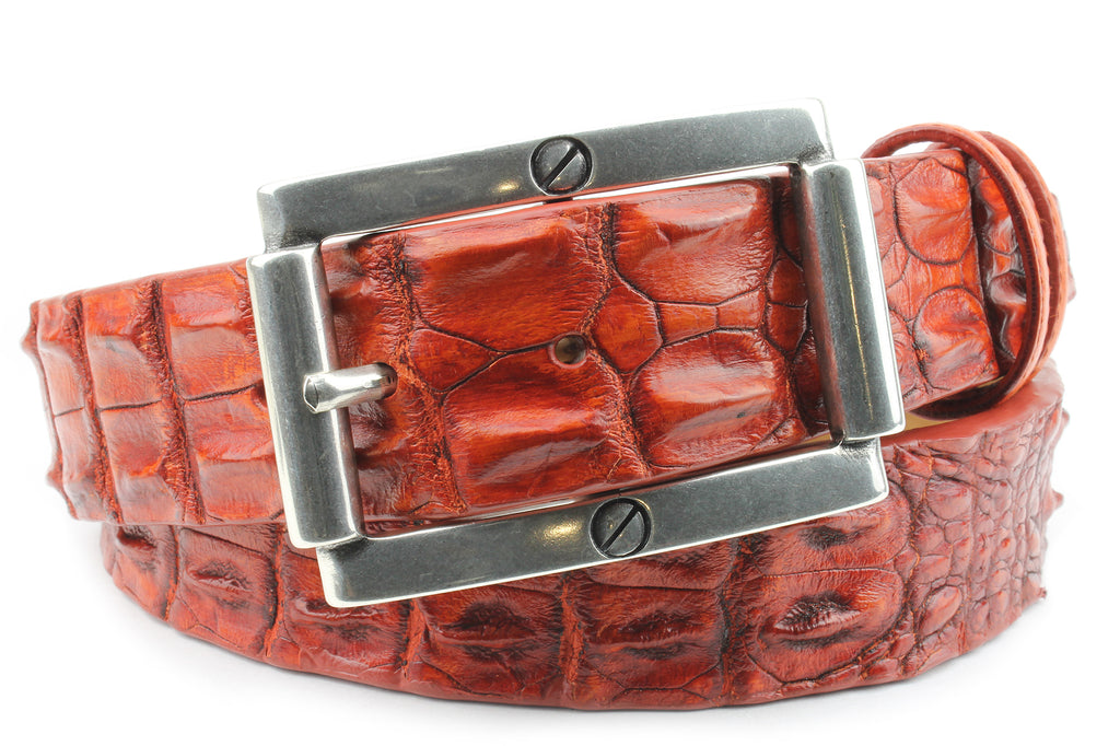 Hand painted London Tan Porosus Crocodile Back Belt