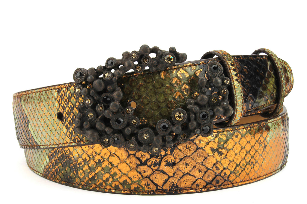 Copper Tone Genuine Python Swarovski Crystal Bubble Belt