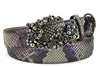 Electric Storm Genuine Python Swarovski Crystal Bubble Belt