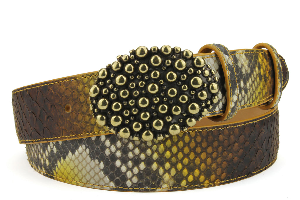 Sunflower Genuine Python Crystal Molten Bubble Belt