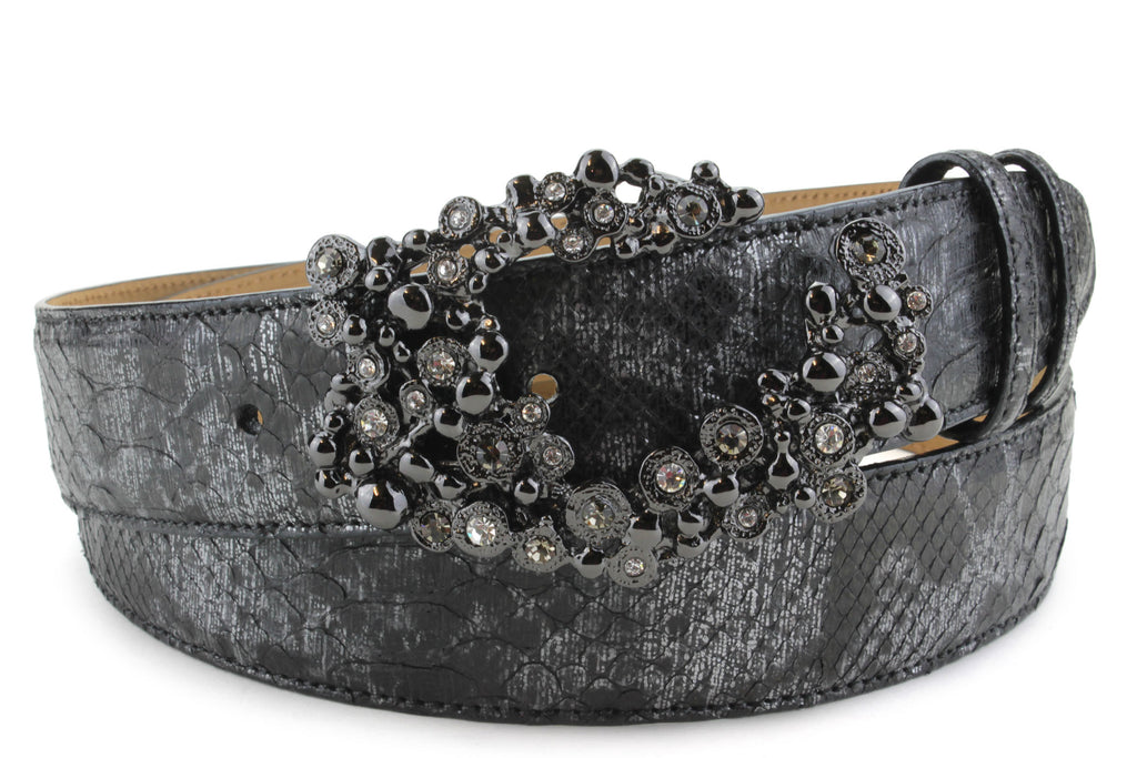 Black Death Metallic Genuine Python Crystal Swirl Belt