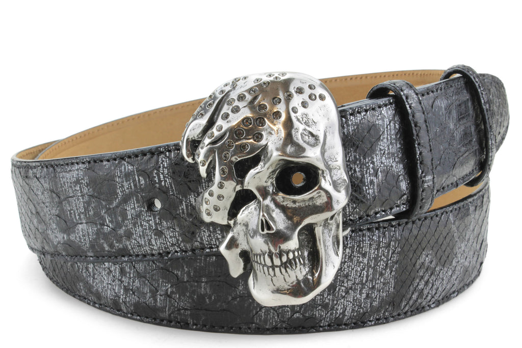 Black Death Metallic Genuine Python Skull Belt