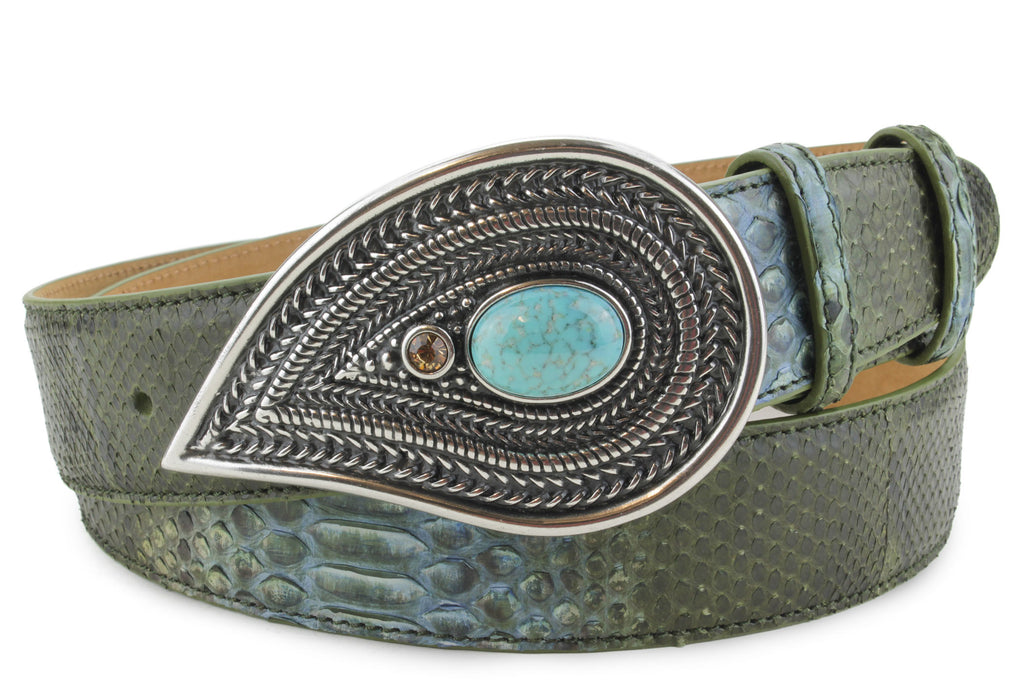 Rainforest Genuine Python Paisley Belt