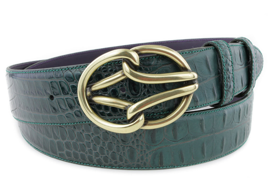 Bottle Green Mock Croc New Reef Belt