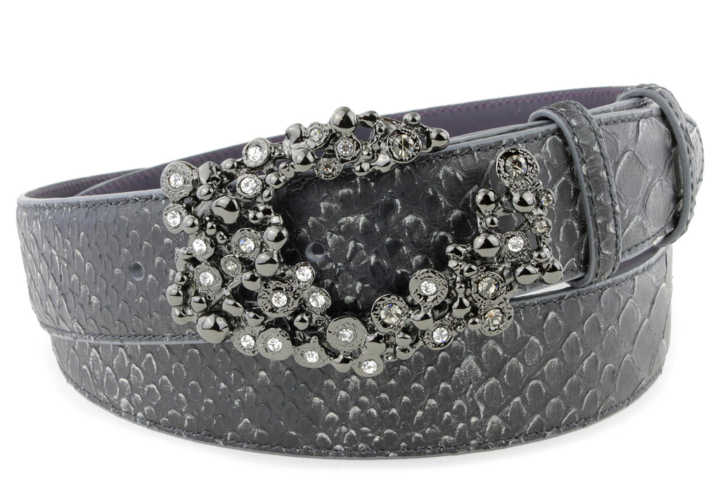 Charcoal Mock Python Bubble Swirl Belt