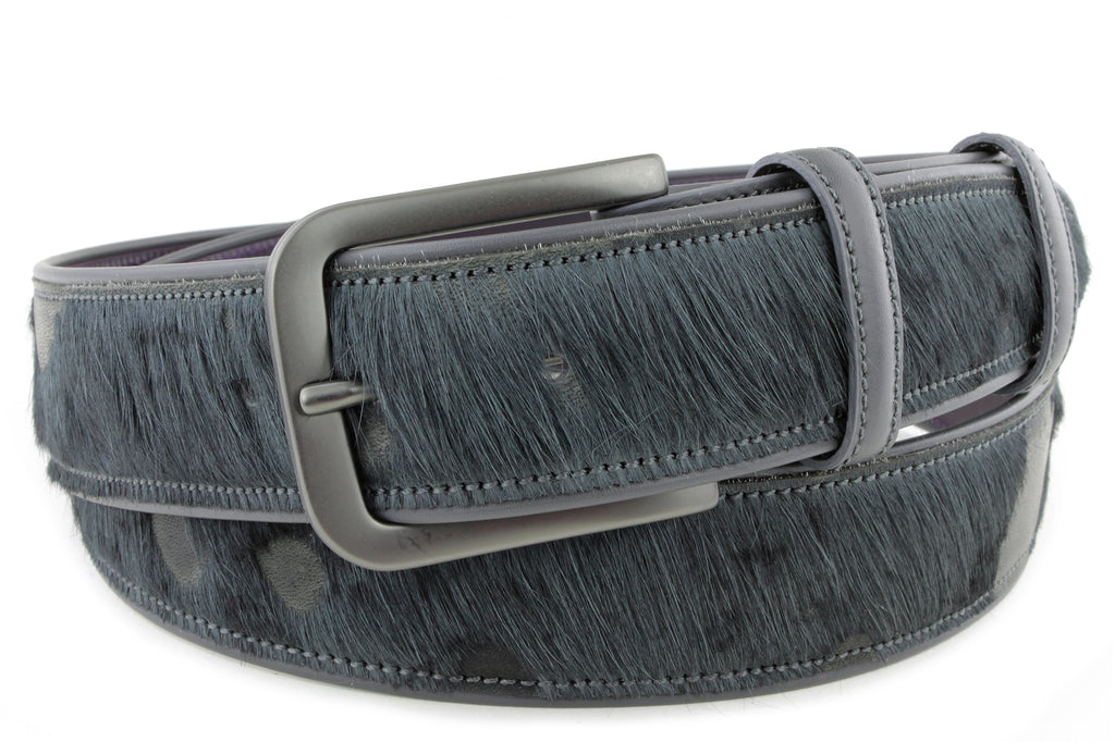 Anthracite Burn Out Pony Hair Belt