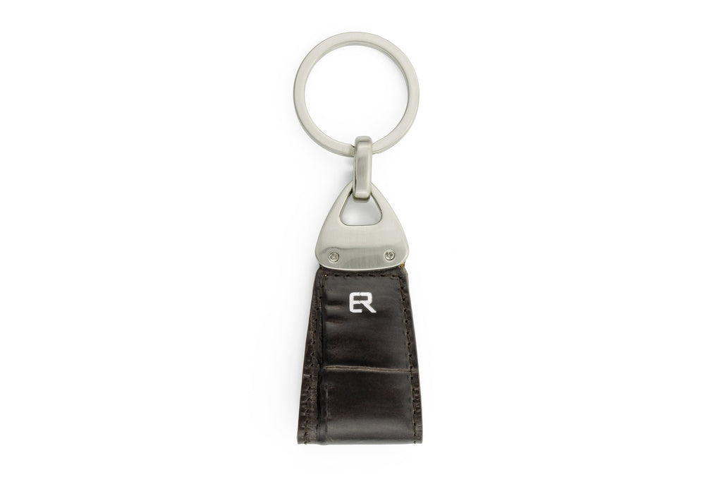 Dark brown mock crocodile Triangle keychain