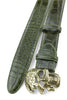 Olive Green Burnished Mock Croc Skull Belt