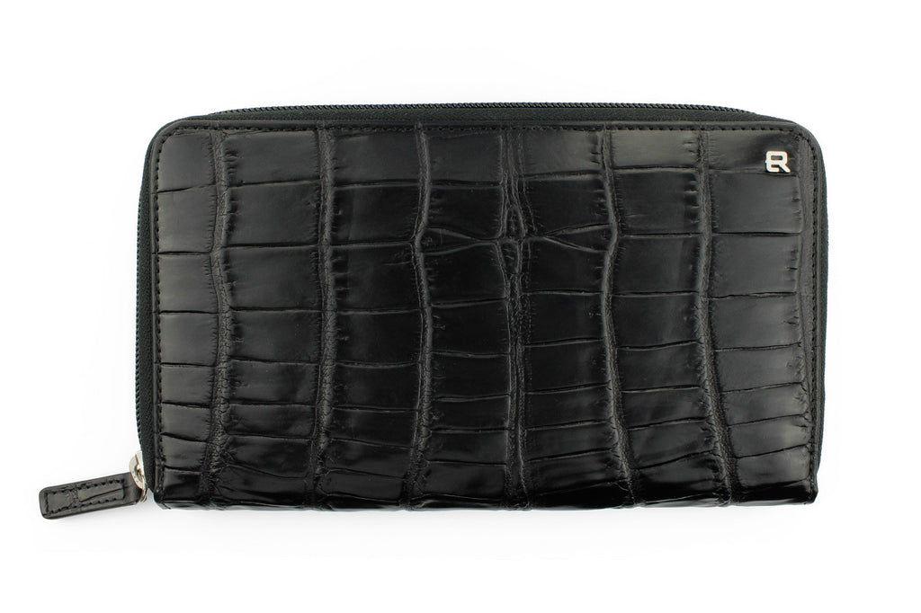 Black mock crocodile continental purse