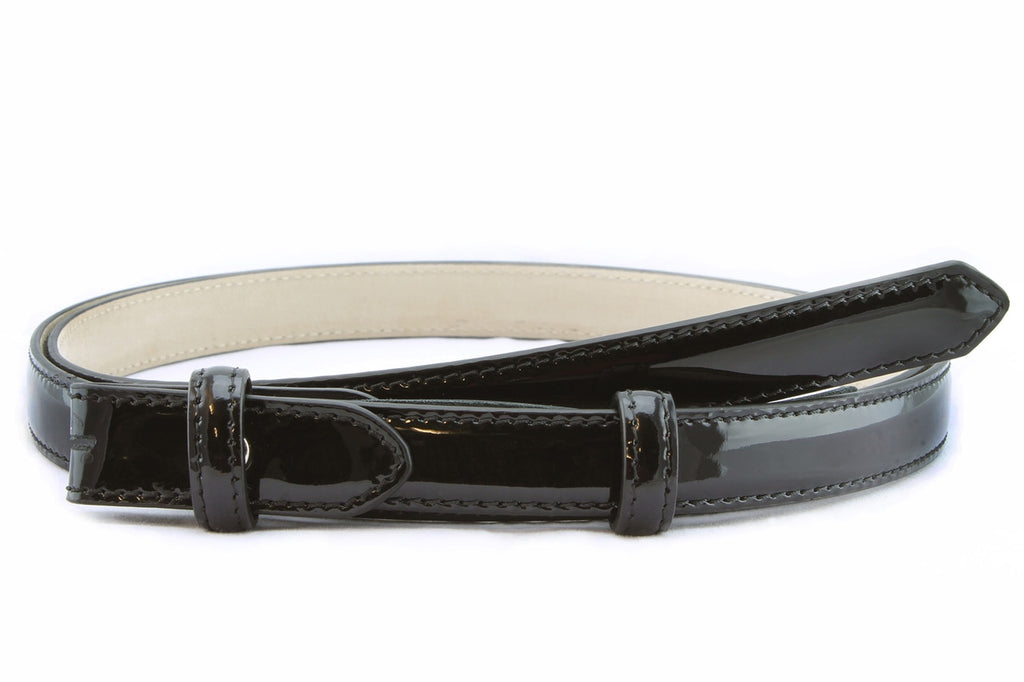 Black skinny patent leather belt strap