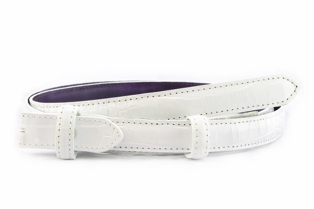 White mock crocodile skinny belt strap