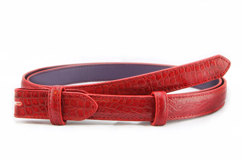 Classic red mock crocodile skinny belt strap