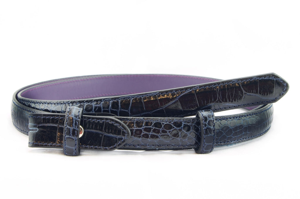 Navy blue mock crocodile skinny belt strap