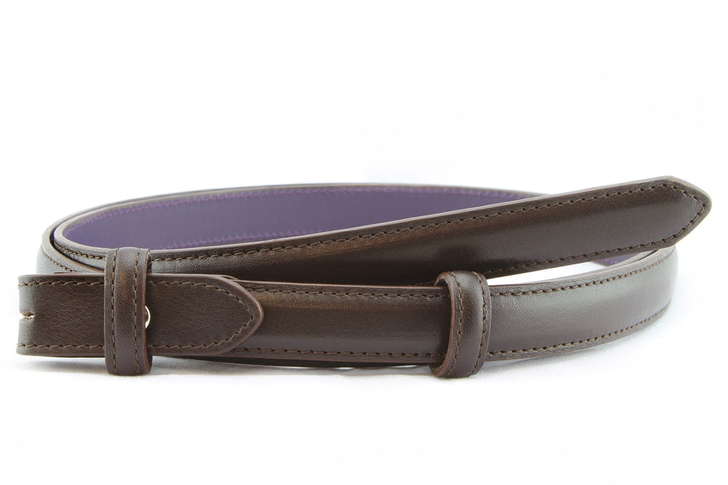 Dark Chocolate Brown skinny napa feel belt strap