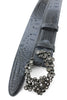 Charcoal Grey Mock Croc Crystal Swirl Belt