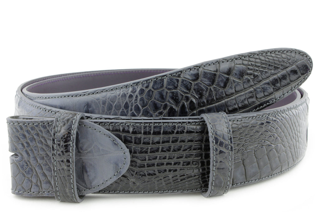 Charcoal Grey Mock Croc Belt Strap