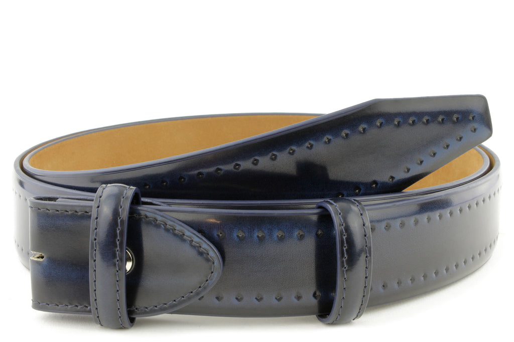 Pacino Electric Blue Hand Burnished Belt Strap