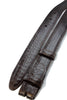 Dark brown mock crocodile slim belt strap