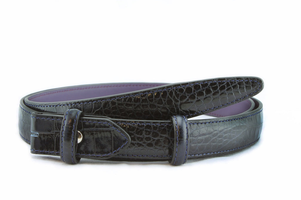 Navy blue mock crocodile slim belt strap