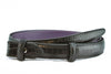 Black mock crocodile slim belt strap
