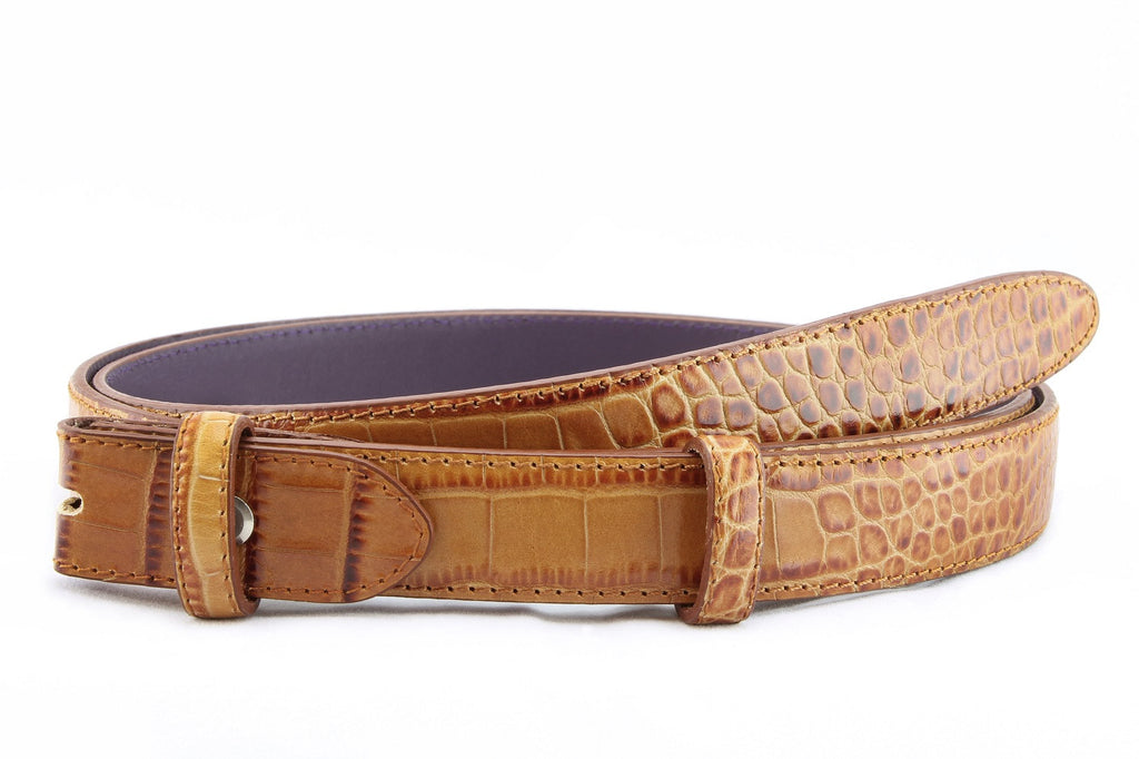 Light chestnut mock crocodile slim belt strap
