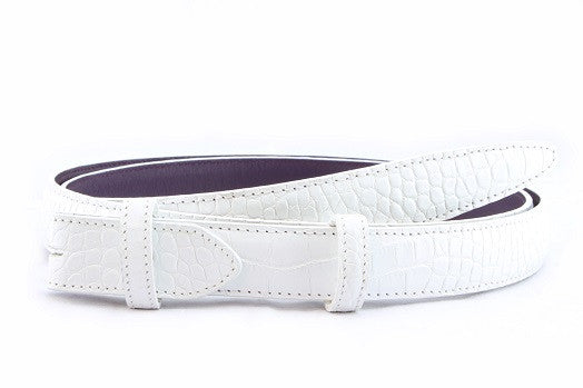 Optic white mock crocodile slim belt strap