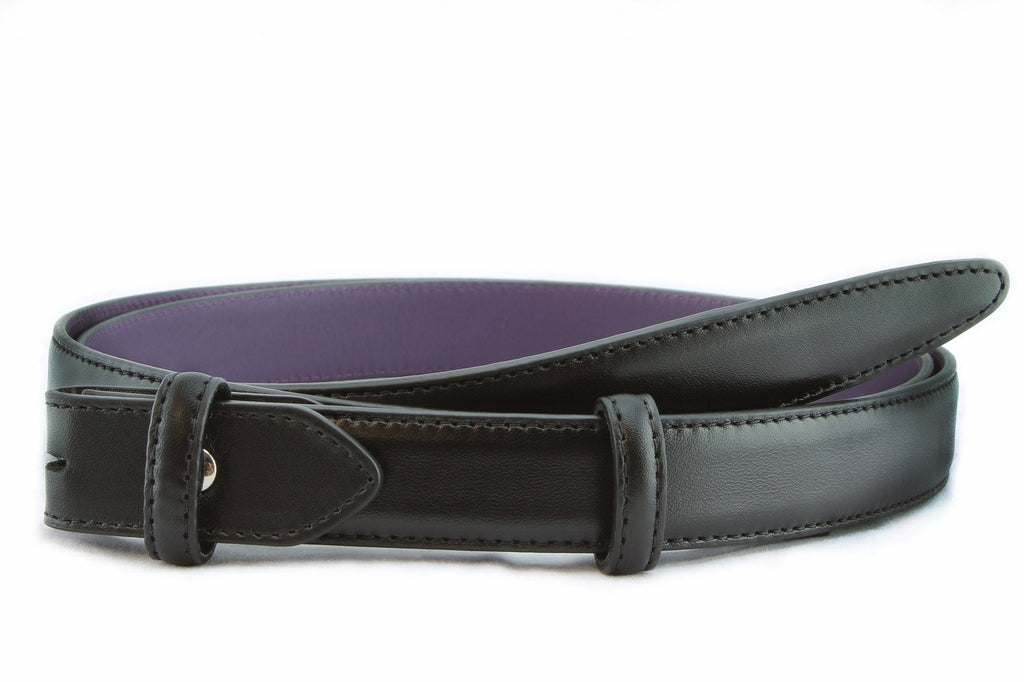 Black napa feel slim belt strap