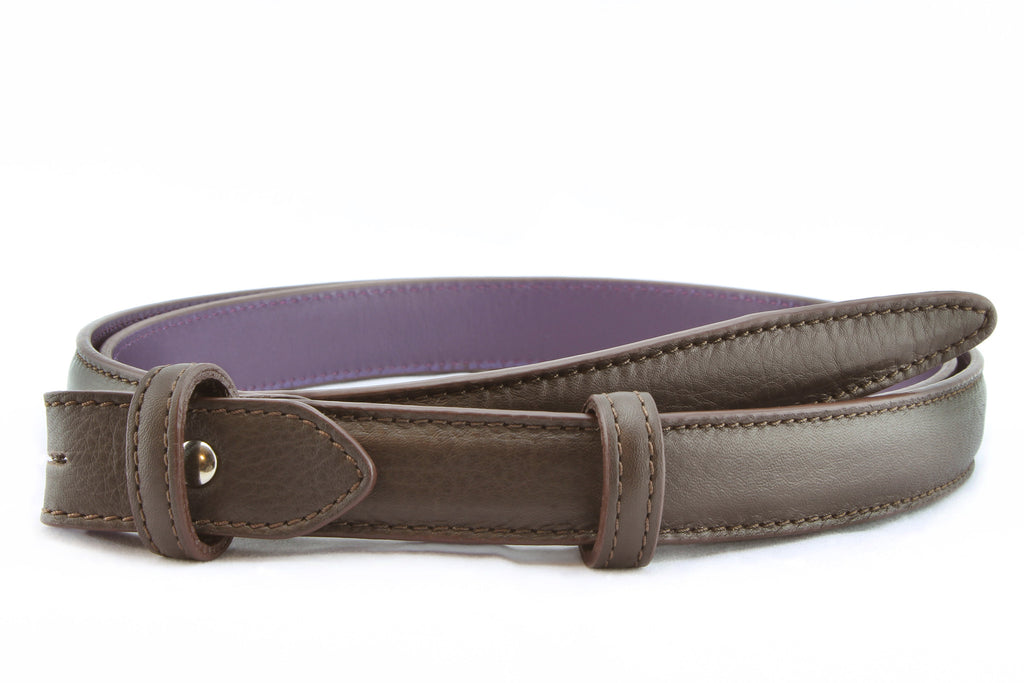 Dark Chocolate Brown napa feel slim belt strap