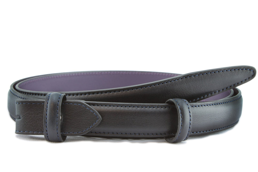 Navy Blue napa feel slim belt strap
