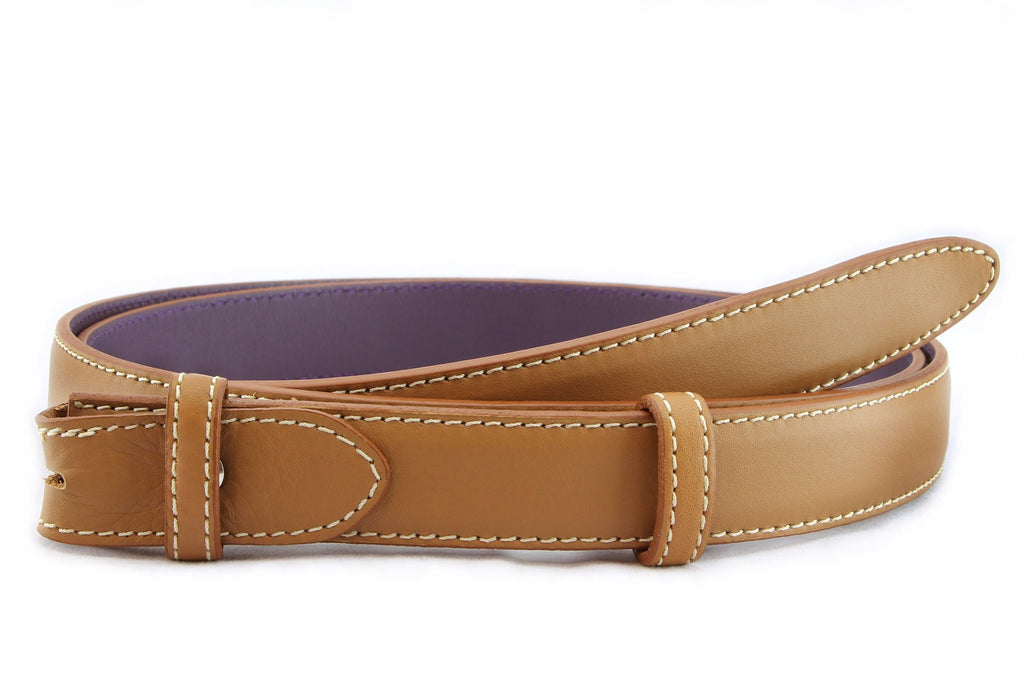 Caramel napa feel slim belt strap
