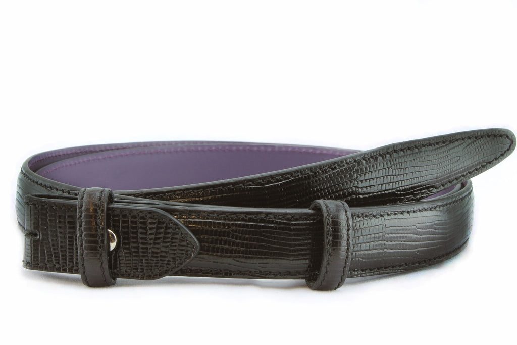 Black mock lizard slim belt strap
