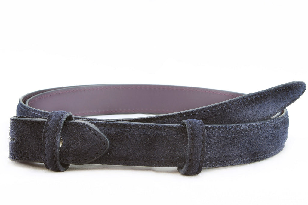 Navy blue slim suede belt strap