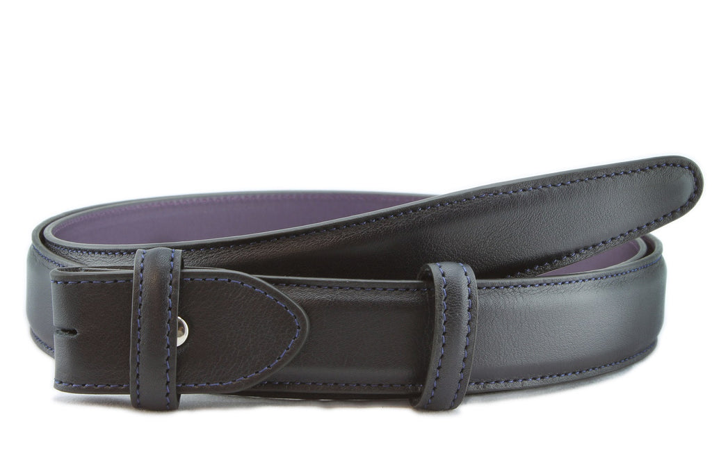 Navy blue box calf narrow belt strap