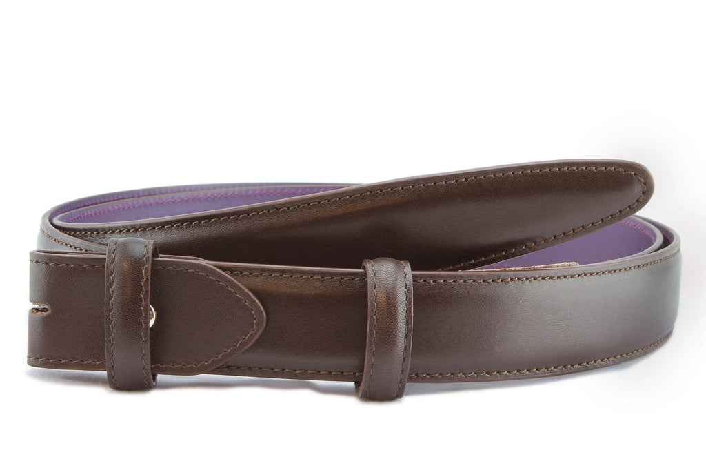 Dark brown box calf narrow belt strap