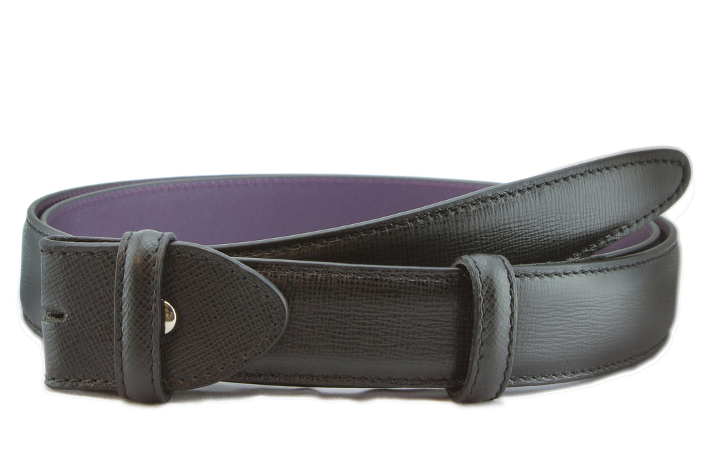 Black saffiano leather belt strap