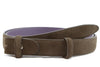 Chocolate brown narrow suede belt strap
