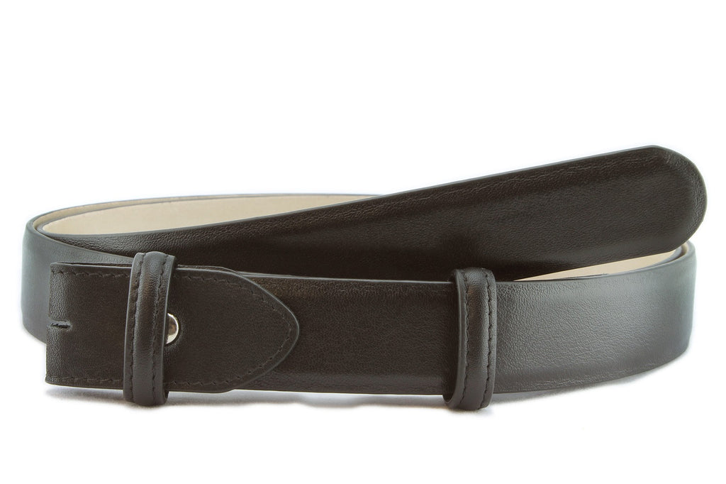 Black napa soft feel narrow belt