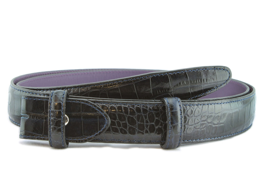Navy blue narrow mock croc belt strap