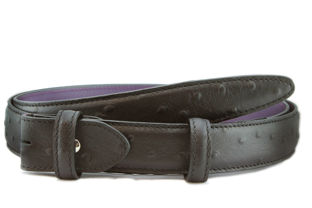 Black matt mock ostrich narrow belt