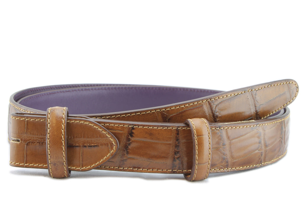 Tan narrow mock alligator tail belt strap