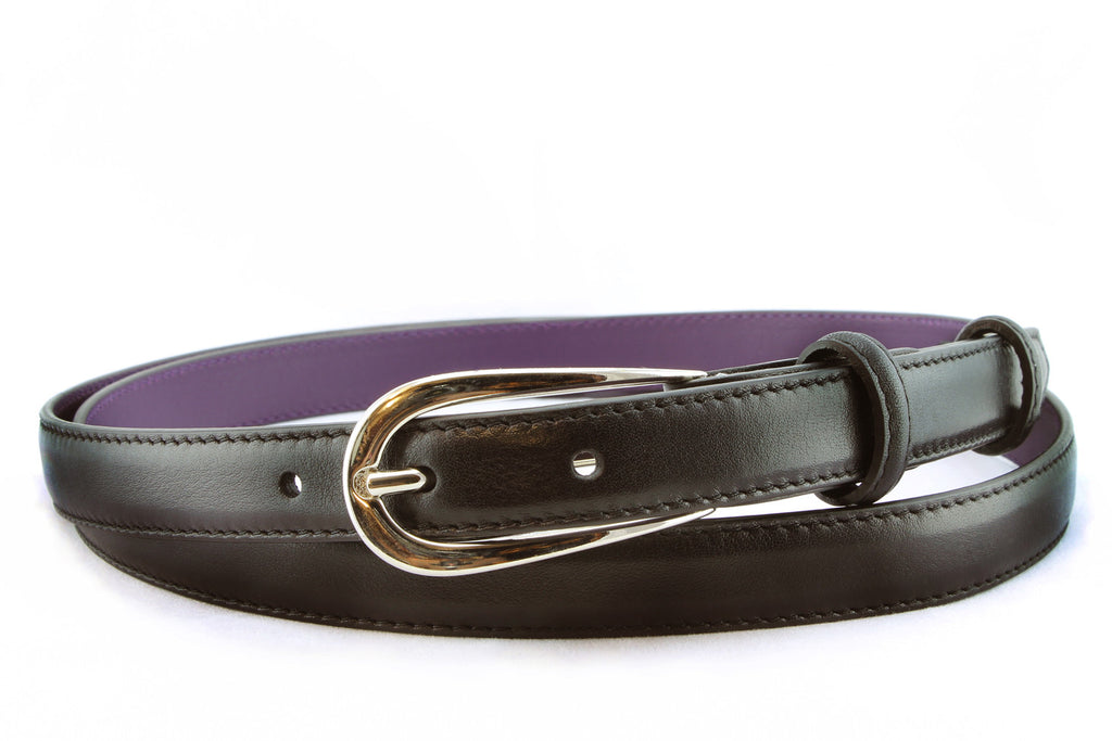 Black skinny napa feel belt strap with silver buckle