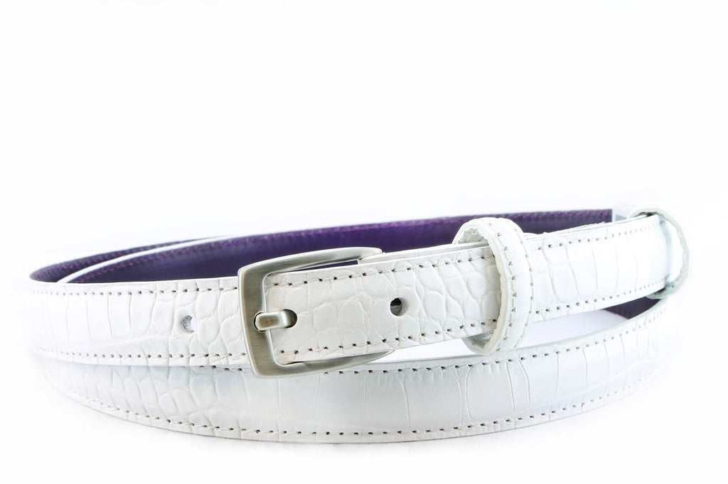White mock crocodile skinny belt