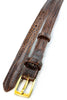 Dark brown mock crocodile skinny belt