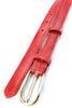 Classic red mock crocodile skinny belt