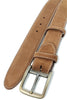 Tan Suede Belt For Men With An Aged Brass Buckle
