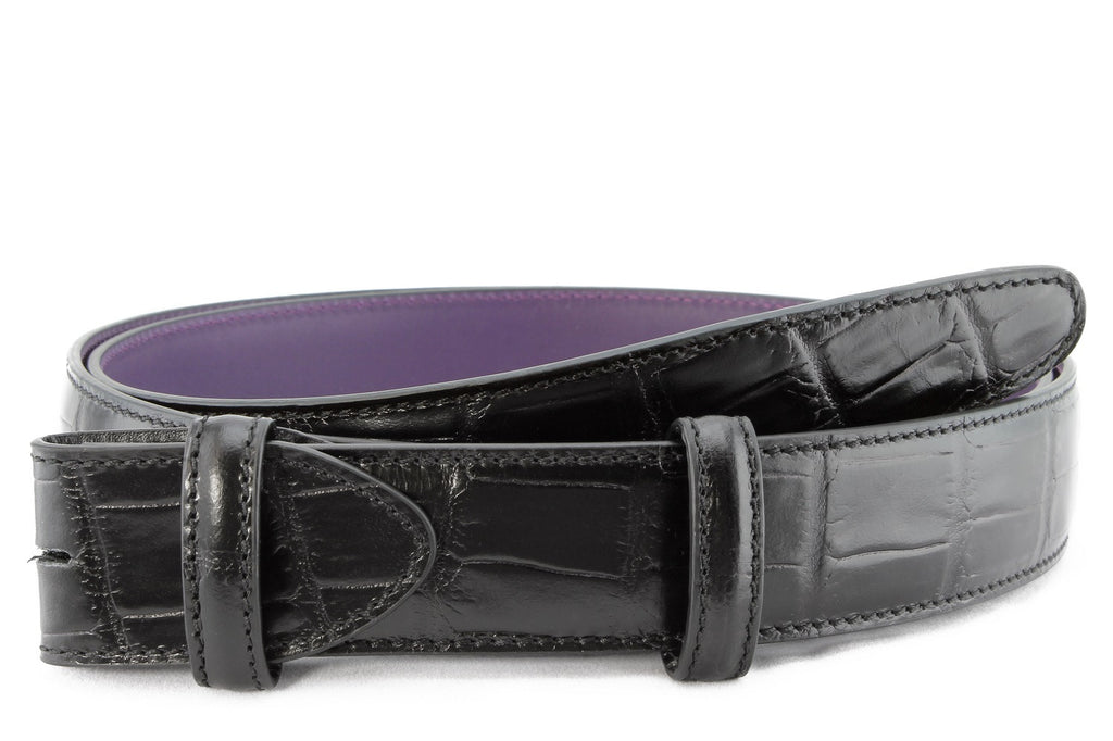 Black mock alligator tail belt strap