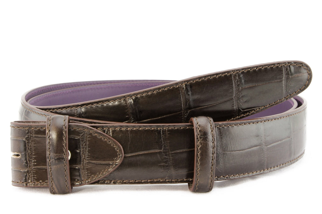 Dark brown mock alligator tail belt strap