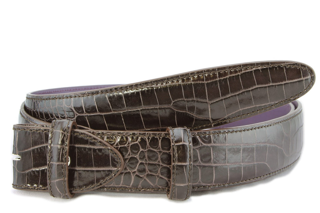 Dark brown mock crocodile belt strap