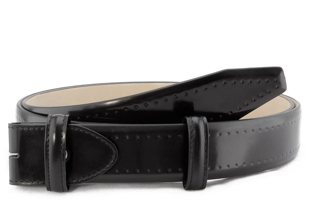 Black cordovan brogue belt strap